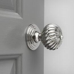Swirl Design Door Knobs (Pair) - Nickel