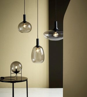 Blown Glass Pendant Lights - Smoked