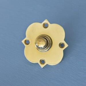 Quatrefoil Bell Push - Polished Brass