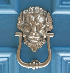Large Lions Head Door Knocker - Satin Nickel