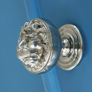 Lions Head Door Pull - Polished Nickel