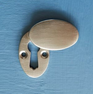 Oval Covered 'Braemar' Escutcheon - Satin Nickel