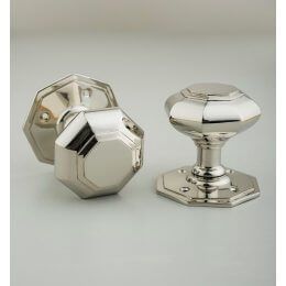Octagonal Door Knobs (Pair) - Nickel