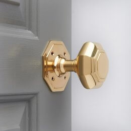 Octagonal Door Knobs (Pair) - Brass