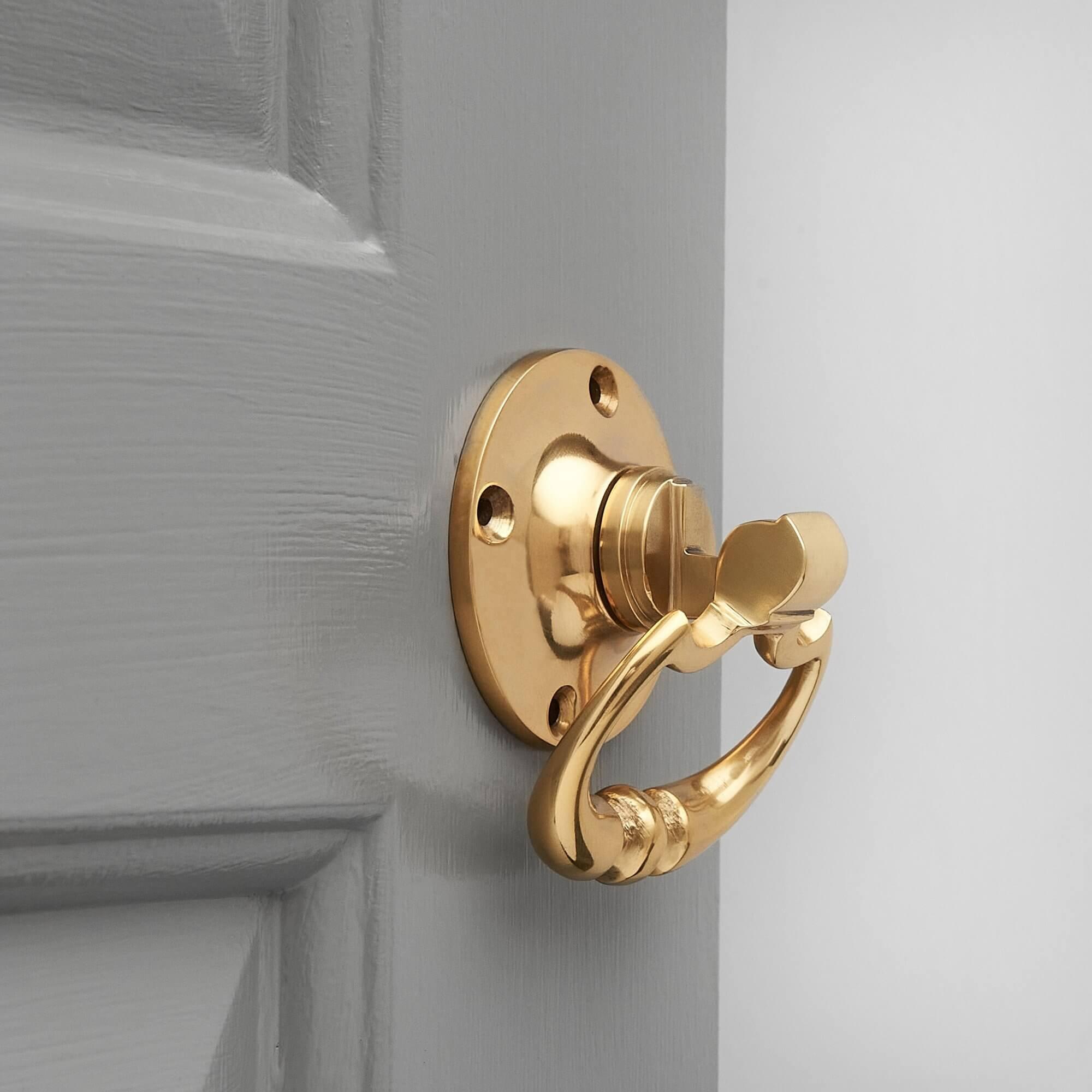 Dutch Drop Ring Door Handles (Pair) - Brass
