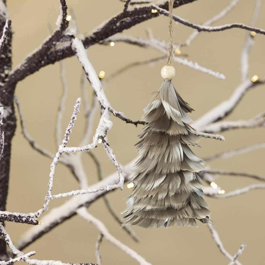 feather tree decoration, grey