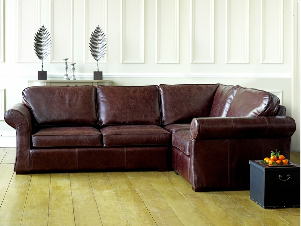 Vintage leather corner sofa